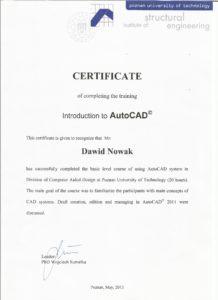 Certyfikaty - Rzeczoznawca Majątkowy Dawid Nowak - Wągrowiec